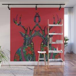 poinsettia deer red Wall Mural