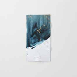 A Minimal Sapphire and Gold Abstract piece in blue white and gold by Alyssa Hamilton Art  Hand & Bath Towel
