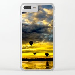 Aerostatic balloons at sunrise, over the lake. Clear iPhone Case