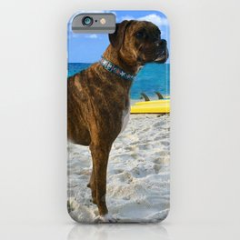 BOXER DOG SURFER BEACH BUM AND FRIEND iPhone Case