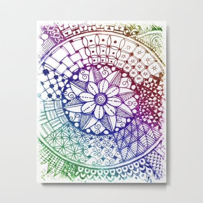 Rainbow Zen Metal Print