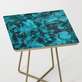 Blue Gemstone and Ink Malachite Glitter Marble Side Table