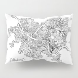 Pittsburgh Neighborhoods - black and white Pillow Sham