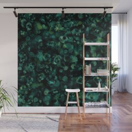 Dark Rich Teal Botanical Plant Abstract Wall Mural