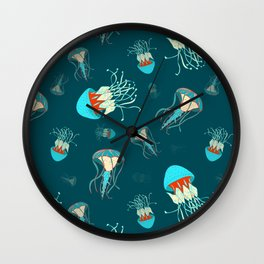 Flow jellyfishes Wall Clock