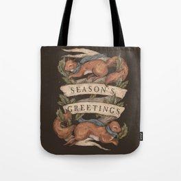 Red Squirrel Season's Greetings Tote Bag