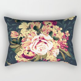 Roses and lilac. Beautiful victorian design on blue Rectangular Pillow