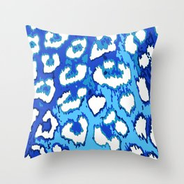 Blue and White Leopard Spots Throw Pillow