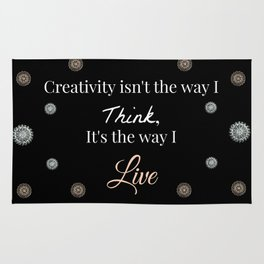 Rose-Gold and Silver Creativity Quote Mandala Textile on Black Background Rug