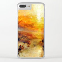 """J. M. W. Turner """"Slavers Throwing overboard the Dead and Dying, Typhon coming on - The slave ship"""" Clear iPhone Case"""