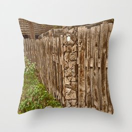 Old Rustic Wooden Fence Throw Pillow
