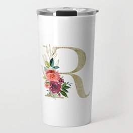 Letter R Monogram Gold and Watercolor Flowers Travel Mug