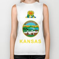 kansas Biker Tanks featuring KANSAS by changsaw