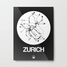 Zurich White Subway Map Metal Print
