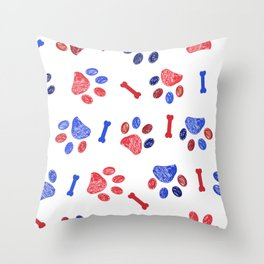 Doodle blue and red paw prints and bones seamless pattern Throw Pillow