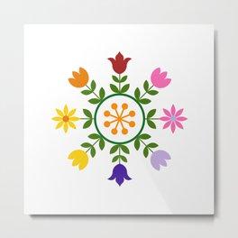 Scandinavian Style Colorful Flowers Wheel Metal Print