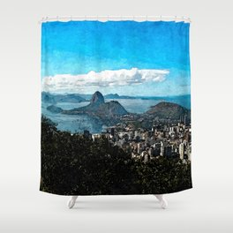 Painting of Rio Sugarloaf  Coastline View from Corcovado Mountain, Brazil Shower Curtain