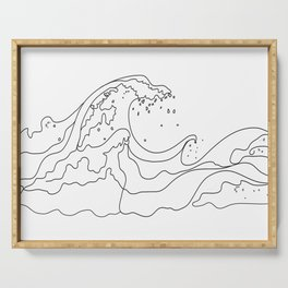 Minimal Line Art Ocean Waves Serving Tray