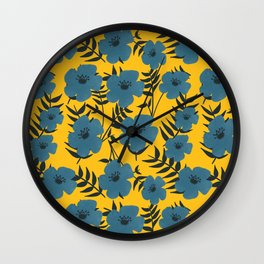 Blue Flowers with Banana Leaves with Yellow Wall Clock