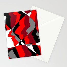 Profiles in Red, Maroon, Black, Gray and White Stationery Cards