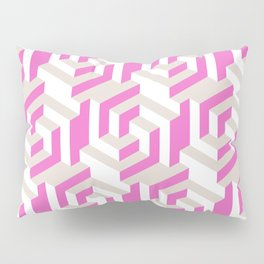 Pink and White Pattern with Gray Fractal Art Pillow Sham