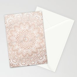 Mandala - rose gold and white marble 3 Stationery Cards