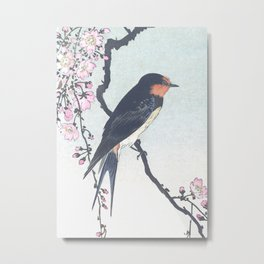 Swallow on Blossomed Cherry Tree - Vintage Japanese Woodblock Print Art Metal Print