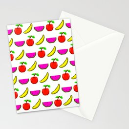 Retro Video Game Fruit Medley Pixel Art Stationery Cards