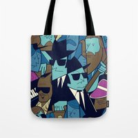 blues brothers Tote Bags featuring The Blues Brothers by Ale Giorgini