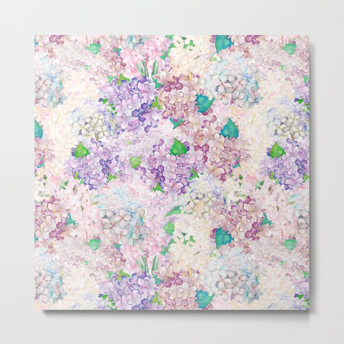 Pastel Purple and blue Lilac & Hydrangea - Flower Design Metal Print