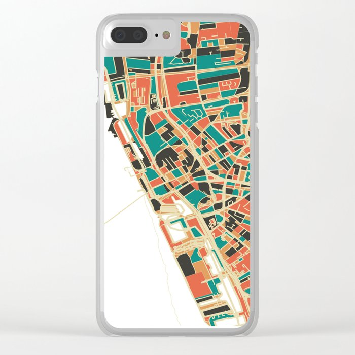 Liverpool City Map - Multicolour Clear iPhone Case