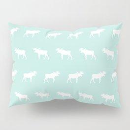 Moose pattern minimal nursery basic mint and white camping cabin chalet decor Pillow Sham