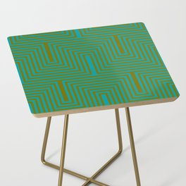Doors & corners op art pattern in olive green and aqua blue Side Table