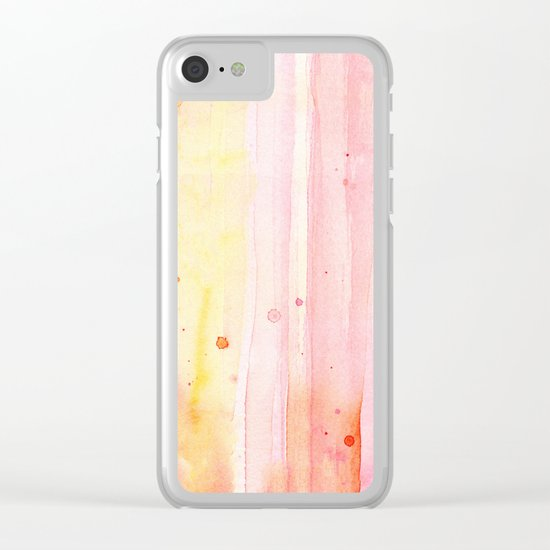 Pink Rain Watercolor Texture Clear iPhone Case