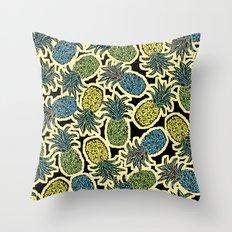 Pineapple Pandemonium - Retro Tones Throw Pillow
