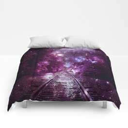 Dream Train Tracks : Next Stop Anywhere purple pink Comforters