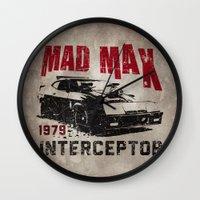 mad max Wall Clocks featuring Mad Max Interceptor MFP by Nxolab
