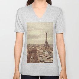 Vintage Paris Eiffel Tower (Color) Unisex V-Neck