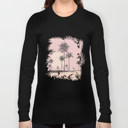 Tropical Sunset In Peach Coral Pastel Colors Long Sleeve T-shirt