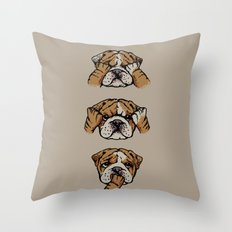 Noevil English Bulldog Throw Pillow