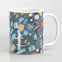 macaroon Mugs featuring Hipster pattern by Anna Alekseeva kostolom3000