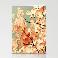 coral Stationery Cards featuring Pink by Olivia Joy StClaire
