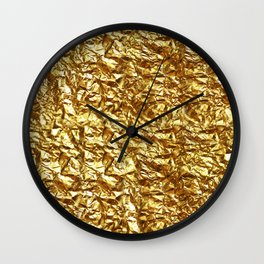 GOLD METAL TEXTURE solid color  Wall Clock