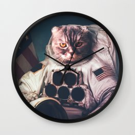 Beautiful cat astronaut Wall Clock