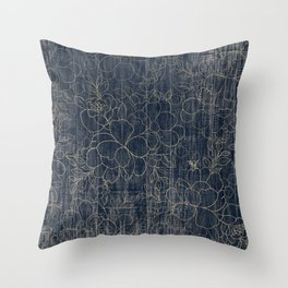 Rustic blue white wood gold floral Throw Pillow