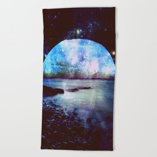 Mystic Lake Dark & Colorful Beach Towel