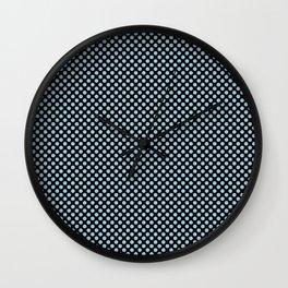 Black and Crystal Blue Polka Dots Wall Clock