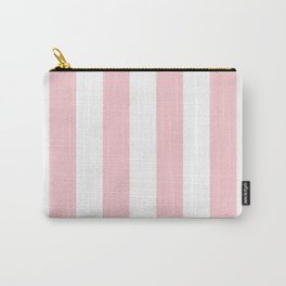 Large White and Light Millennial Pink Pastel Circus Tent Stripe Carry-All Pouch