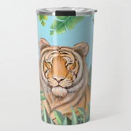 Tropical tiger jungle, tropical flowers Travel Mug
