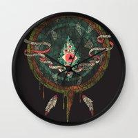 dream catcher Wall Clocks featuring Dream Catcher by Hector Mansilla